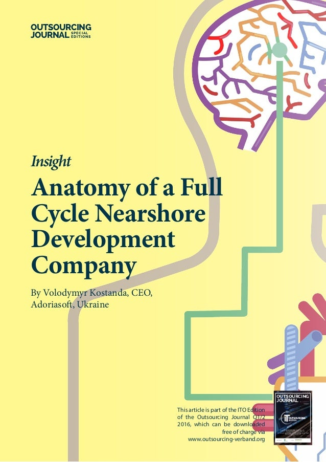 Anatomy of a Full Cycle Nearshore Development Company By Volodymyr Kostanda, CEO, Adoriasoft, Ukraine Insight OUTSOURCING ...