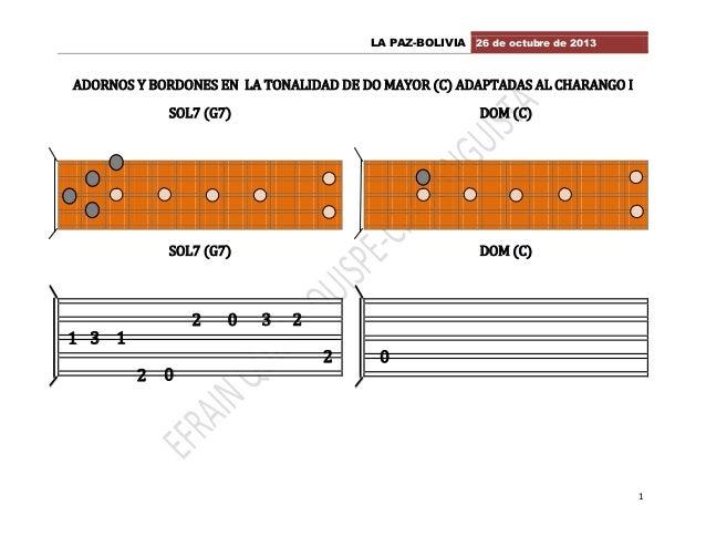 LA PAZ-BOLIVIA 26 de octubre de 2013  ADORNOS Y BORDONES EN LA TONALIDAD DE DO MAYOR (C) ADAPTADAS AL CHARANGO I SOL7 (G7)...