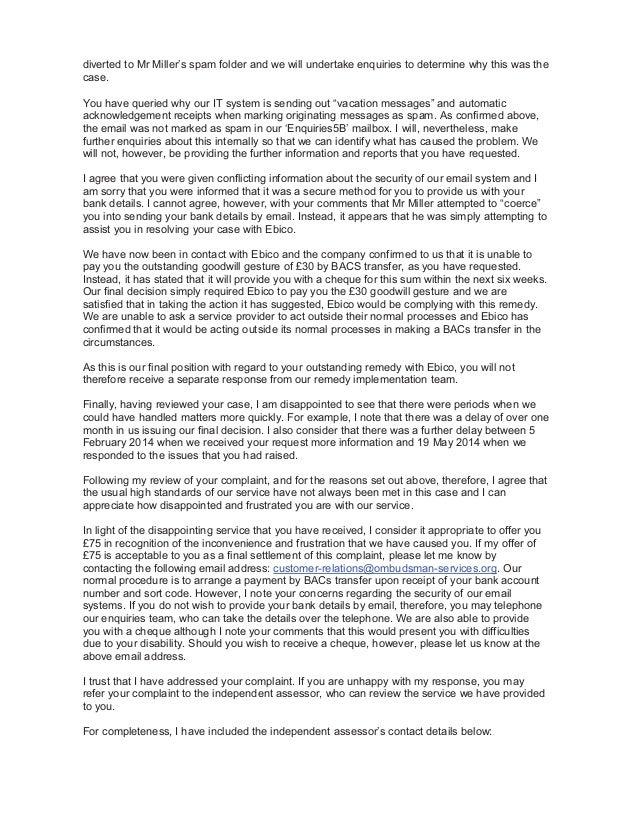 Service complaint response letter ombudsman services case 958100 2 diverted spiritdancerdesigns Image collections