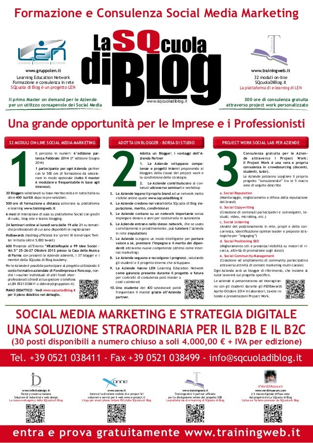 Formazione e Consulenza Social Media Marketing Trainingweb  T www.gruppolen.it  www.trainingweb.it  Learning Education Net...