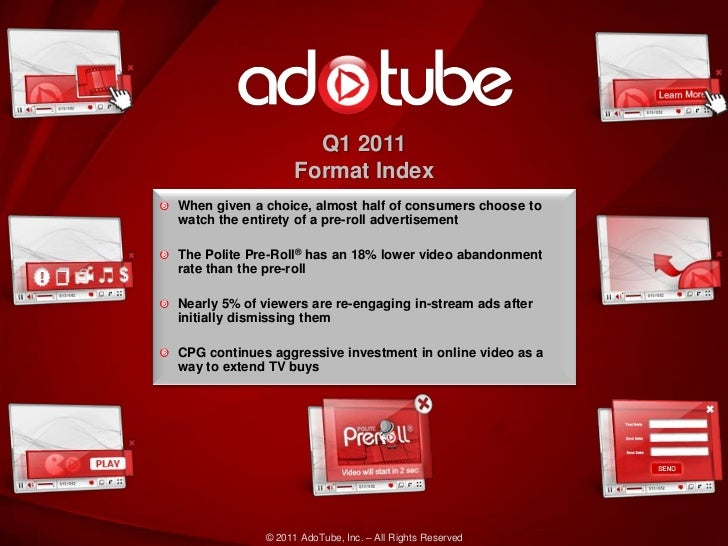 Q1 2011                   Format IndexWhen given a choice, almost half of consumers choose towatch the entirety of a pre-r...