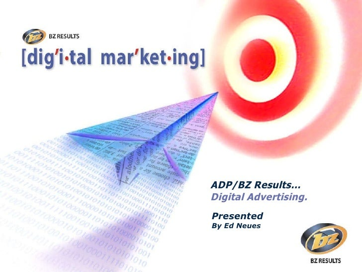 Presented By Ed Neues ADP/BZ Results… Digital Advertising.