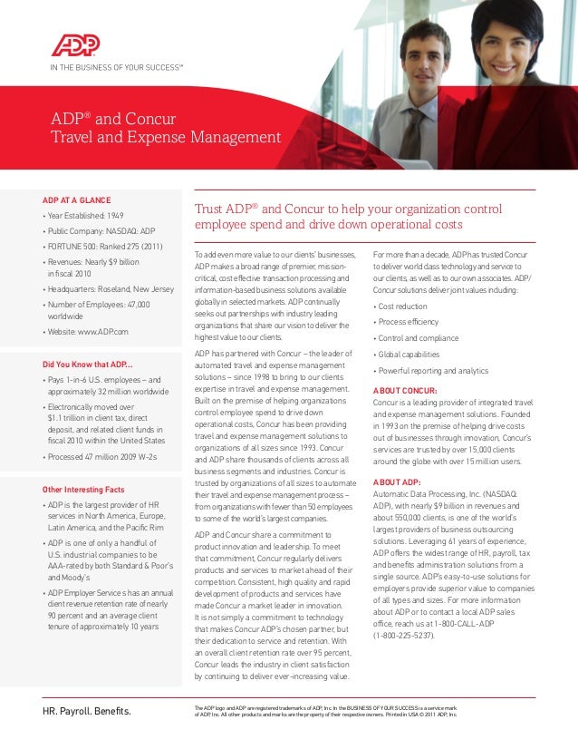 Trust ADP®and Concur to help your organization controlemployee spend and drive down operational costsADP®and ConcurTravel ...