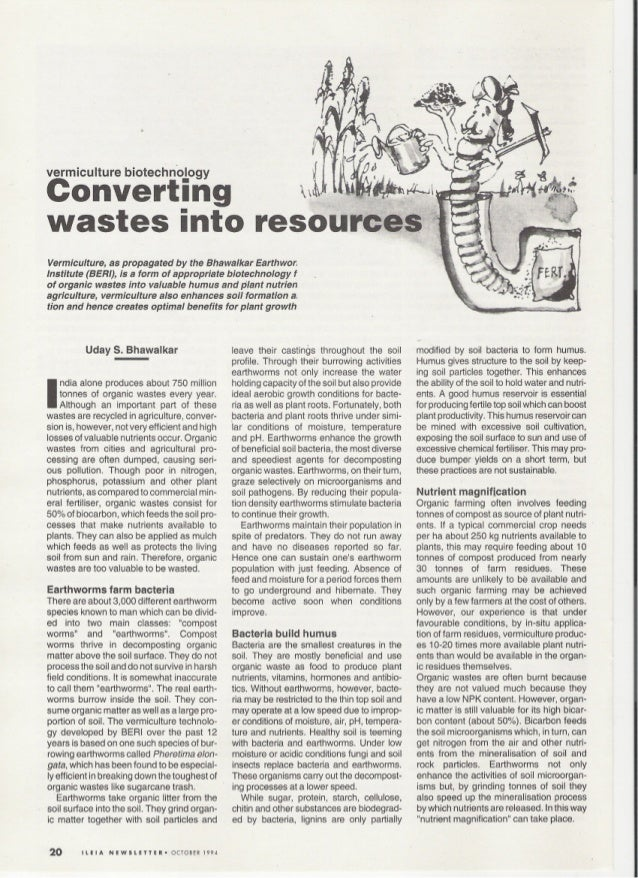 Converting Wastes into Resources: Vermiculture Biotechnology