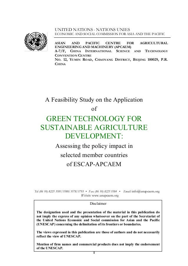 1 UNITED NATIONS - NATIONS UNIES ECONOMIC AND SOCIAL COMMISSION FOR ASIA AND THE PACIFIC ASIAN AND PACIFIC CENTRE FOR AGRI...
