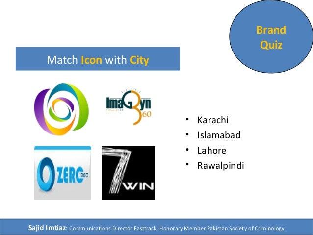 Match Icon with City  • Karachi  • Islamabad  • Lahore  • Rawalpindi  Brand  Quiz  Sajid Imtiaz: Communications Director F...