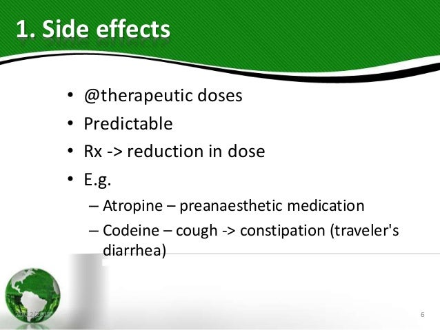 1. Side effects • @therapeutic doses • Predictable • Rx -> reduction in dose • E.g. – Atropine – preanaesthetic medication...