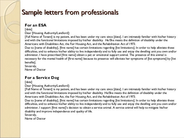 Image of: Pinterest Sincerely Jane Q Public 16 Sample Letters From Professionalssample Letters From Professionals For An Esa Barkpost Service Dogs Therapy Dogs Emotional Support Animals