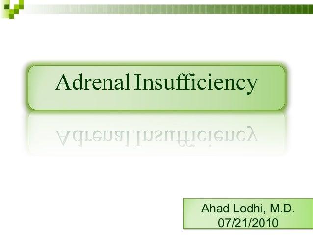 Adrenal insufficiency Slide 2