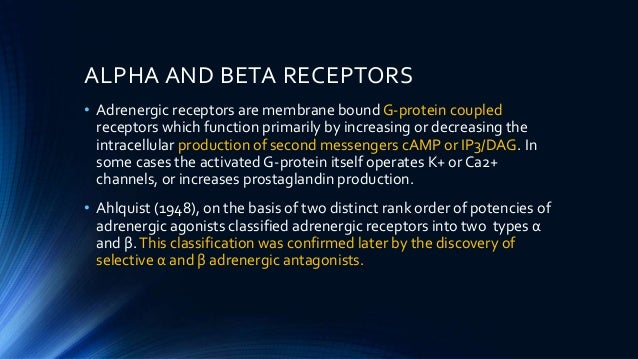 • Adrenergic receptors are membrane bound G-protein coupled receptors which function primarily by increasing or decreasing...