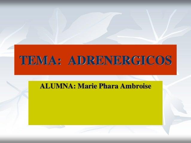 TEMA: ADRENERGICOS ALUMNA: Marie Phara Ambroise