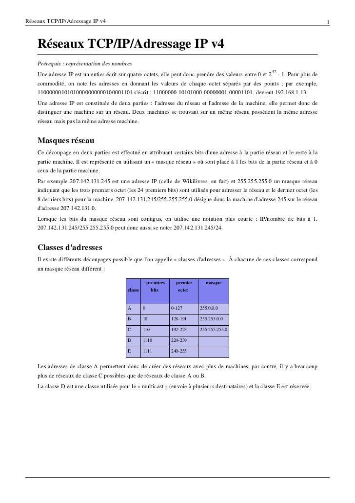 Réseaux TCP/IP/Adressage IP v4                                                                                            ...