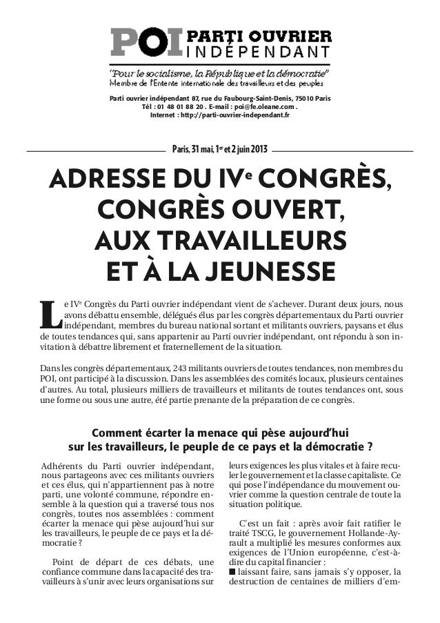 Paris,31mai,1eret2juin2013ADRESSE DU IVeCONGRÈS,CONGRÈS OUVERT,AUX TRAVAILLEURSET À LA JEUNESSELe IVeCongrès du Parti ouvr...