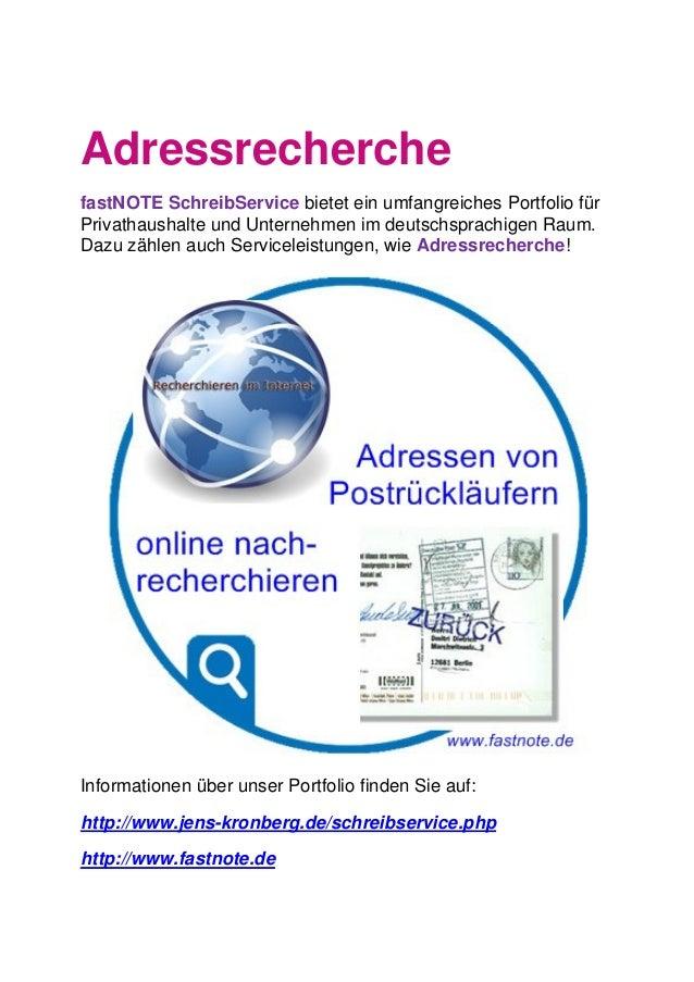 Adressrecherche fastNOTE SchreibService bietet ein umfangreiches Portfolio für Privathaushalte und Unternehmen im deutschs...