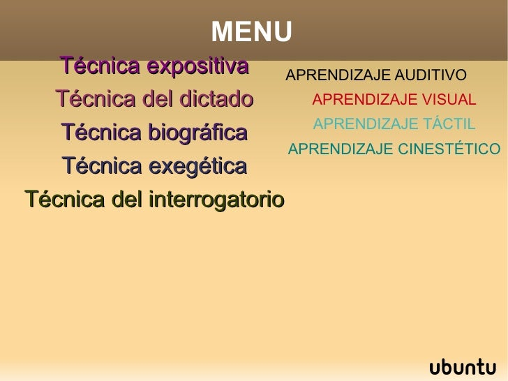 MENU Técnica expositiva Técnica del dictado Técnica biográfica Técnica exegética Técnica del interrogatorio APRENDIZAJE AU...