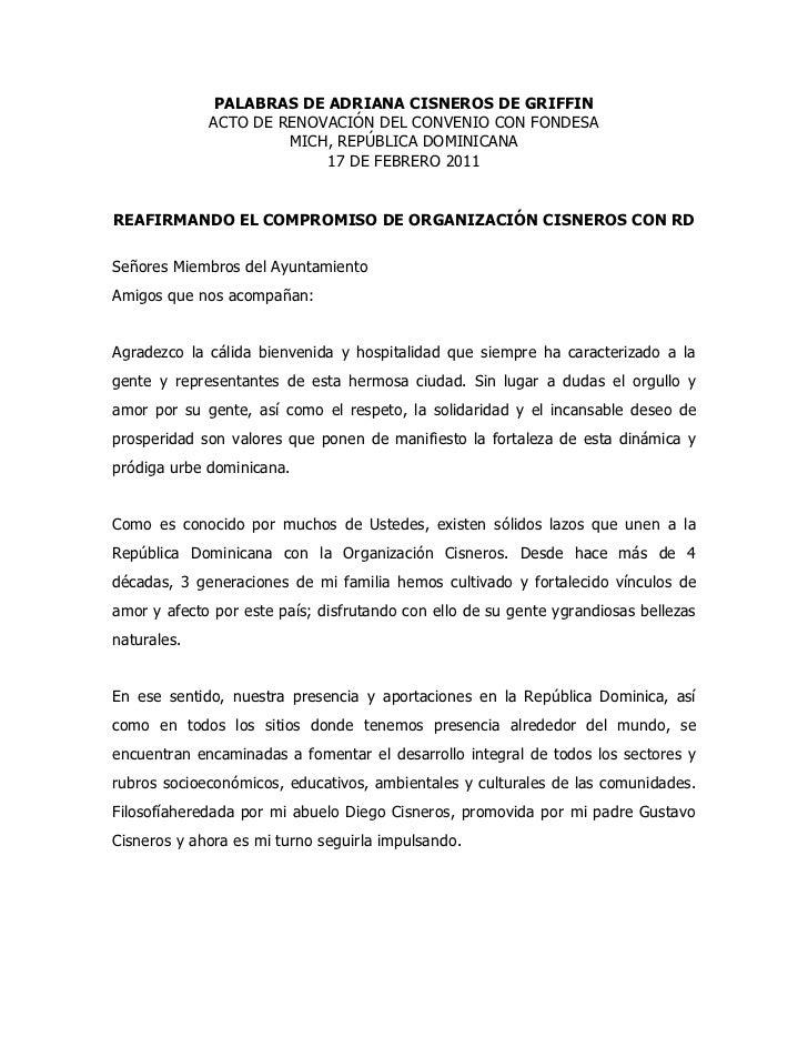 PALABRAS DE ADRIANA CISNEROS DE GRIFFIN <br />ACTO DE RENOVACIÓN DEL CONVENIO CON FONDESA<br />MICH, REPÚBLICA DOMINICANA<...