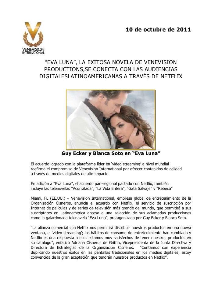 """10 de octubre de 2011<br />-314325-153035<br />""""EVA LUNA"""", LA EXITOSA NOVELA DE VENEVISION PRODUCTIONS, SE CONECTA CON LAS..."""