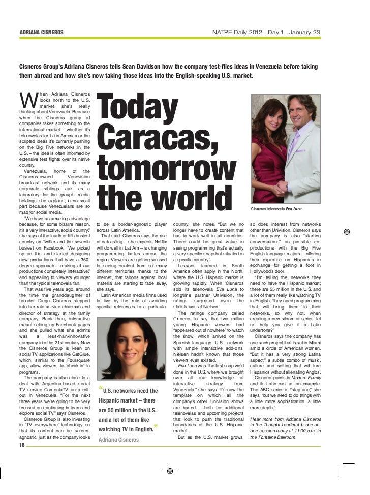 ADRIANA CISNEROS                                                                                      NATPE Daily 2012 . D...