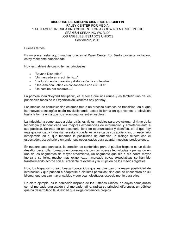 "DISCURSO DE ADRIANA CISNEROS DE GRIFFIN<br />PALEY CENTER FOR MEDIA<br />""LATIN AMERICA: CREATING CONTENT FOR A GROWING MA..."