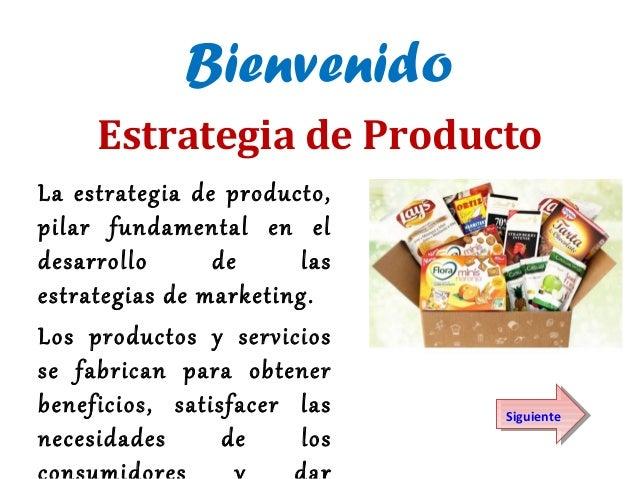 BienvenidoLa estrategia de producto,pilar fundamental en eldesarrollo de lasestrategias de marketing.Los productos y servi...