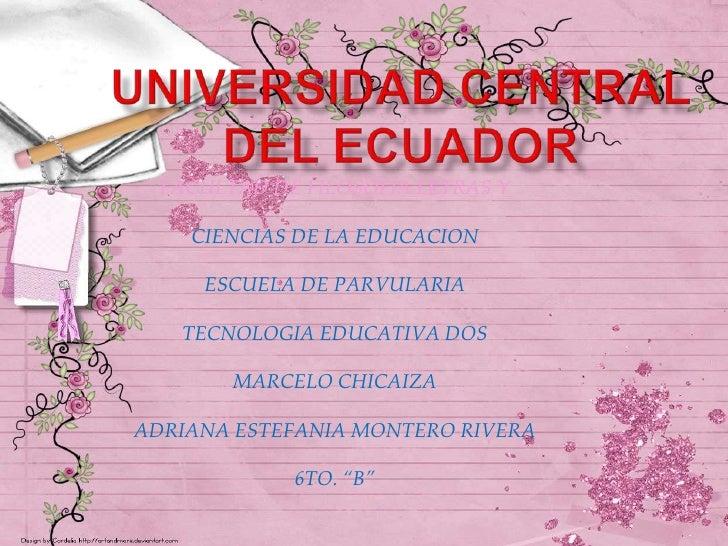 FACULTAD DE FILOSOFIA LETRAS Y    CIENCIAS DE LA EDUCACION     ESCUELA DE PARVULARIA   TECNOLOGIA EDUCATIVA DOS        MAR...