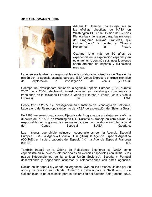 ADRIANA OCAMPO URIA                                      Adriana C. Ocampo Uria es ejecutiva en                           ...