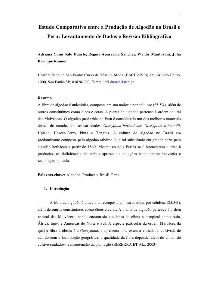 1   Estudo Comparativo entre a Produção de Algodão no Brasil e      Peru: Levantamento de Dados e Revisão Bibliográfica   ...