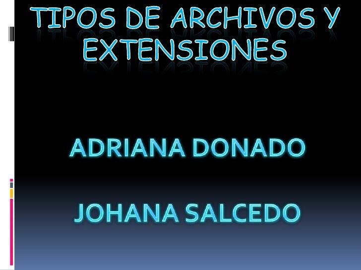 TIPOS DE ARCHIVOS Y EXTENSIONES <br />ADRIANA DONADO<br />JOHANA SALCEDO <br />