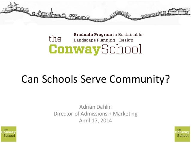 Can	   Schools	   Serve	   Community?	    Adrian	   Dahlin	    Director	   of	   Admissions	   +	   Marke;ng	    April	   ...