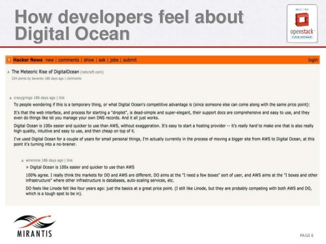 How developers feel about  Digital Ocean  CONFIDENTIAL MIRANTIS ©© M MIRIARNATNIST I2S0 210312 PAGE 6