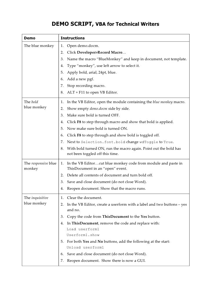Vba for technical writers demo script demo script vba for technical writersbr demoinstructionsthe blue monkeyplstableliststarteropen demo toneelgroepblik Image collections
