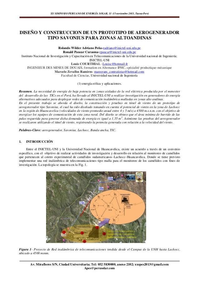 XX SIMPOSIO PERUANO DE ENERGÍA SOLAR, 11 -15 noviembre 2013, Tacna-Perú  DISEÑO Y CONSTRUCCION DE UN PROTOTIPO DE AEROGENE...