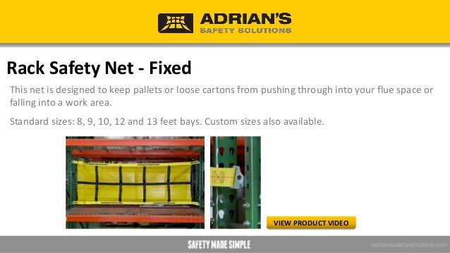 Rack Safety Net - Sliding This net is designed for pick-and-pack operations and adds versatility to the front of picking b...