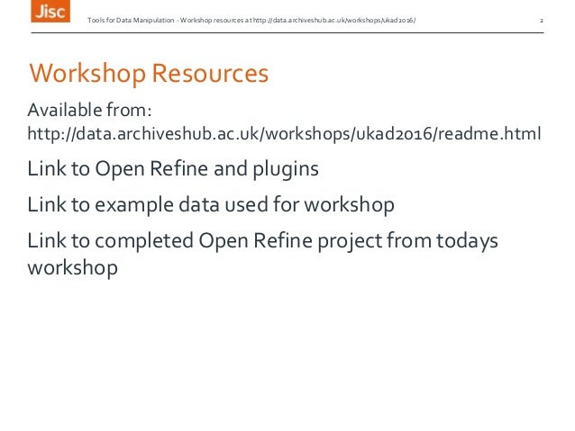 Tools for Data Manipulation - UKAD Open Refine Workshop Slide 2