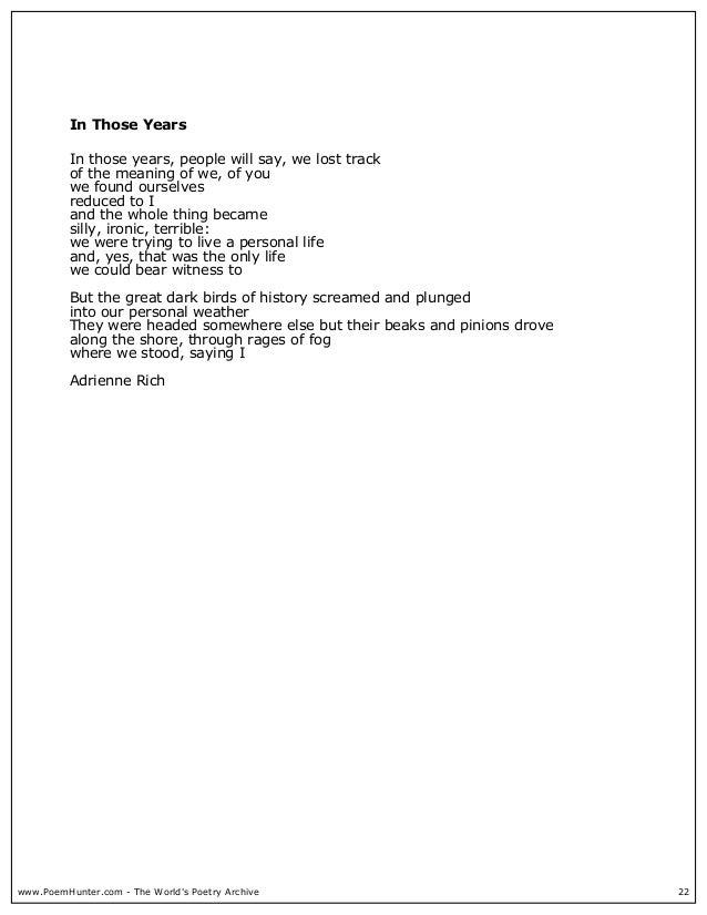 poetry of adrienne rich essays Rhytm, form, power - poety analysis: adrienne rich poetry.
