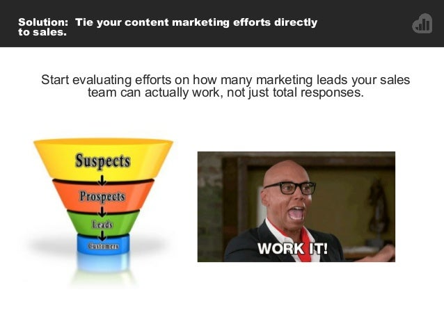 Solution: Tie your content marketing efforts directly to sales. Start evaluating efforts on how many marketing leads your ...