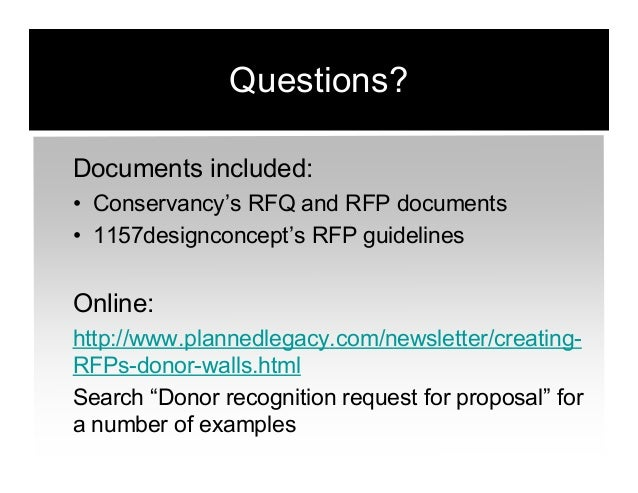 Crafting a Request for Proposal (RFP) for Donor Recognition