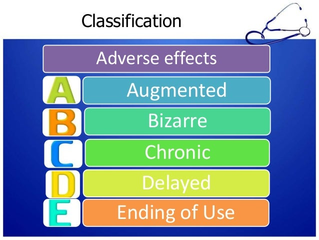 Classification Adverse effects Augmented Bizarre Chronic Delayed Ending of Use