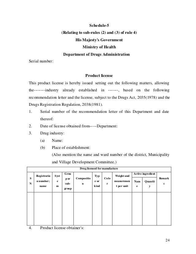24 Schedule-5 (Relating to sub-rules (2) and (3) of rule 4) His Majesty's Government Ministry of Health Department of Drug...