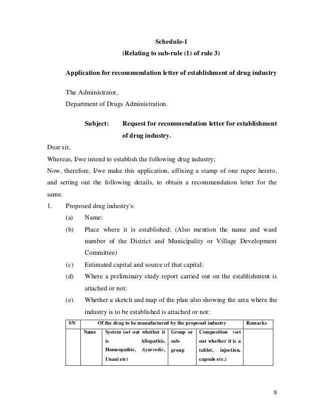 8 Schedule-1 (Relating to sub-rule (1) of rule 3) Application for recommendation letter of establishment of drug industry ...