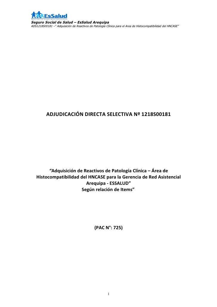 """Seguro Social de Salud – EsSalud ArequipaADS1218S00181 –"""" Adquisición de Reactivos de Patología Clínica para el Area de Hi..."""