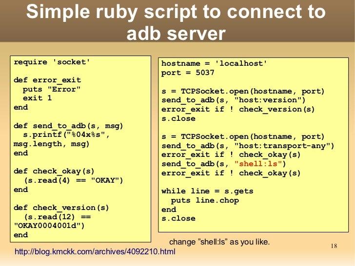 ADB(Android Debug Bridge): How it works? Slide 18