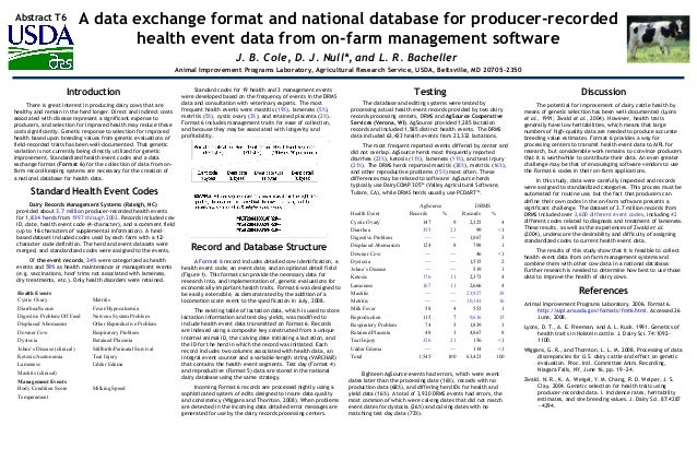 A data exchange format and national database for producer-recorded health event data from on-farm management software J. B...