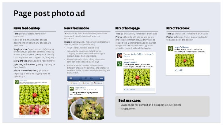Page post photo adNews feed desktop                           News feed mobile                                     RHS of ...