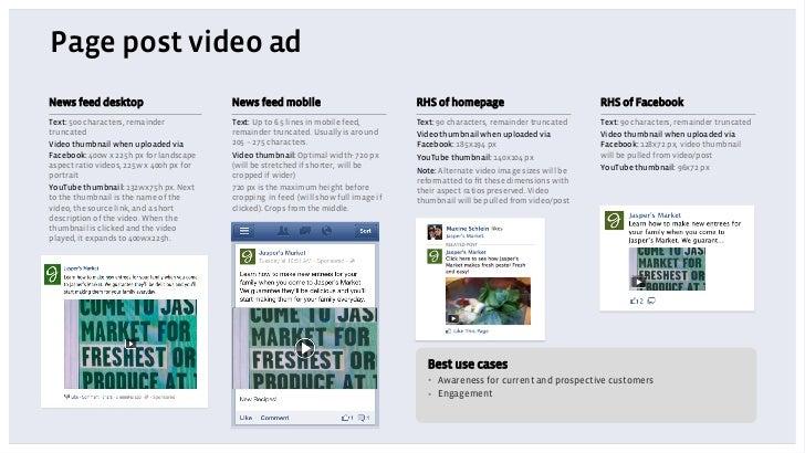 Page post video adNews feed desktop                         News feed mobile                            RHS of homepage   ...