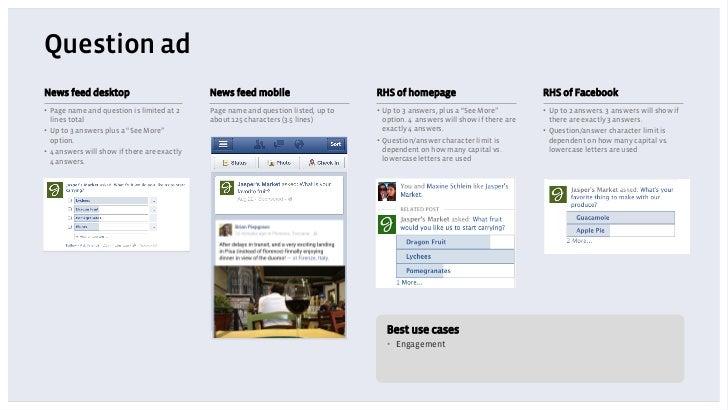 Question adNews feed desktop                             News feed mobile                       RHS of homepage           ...