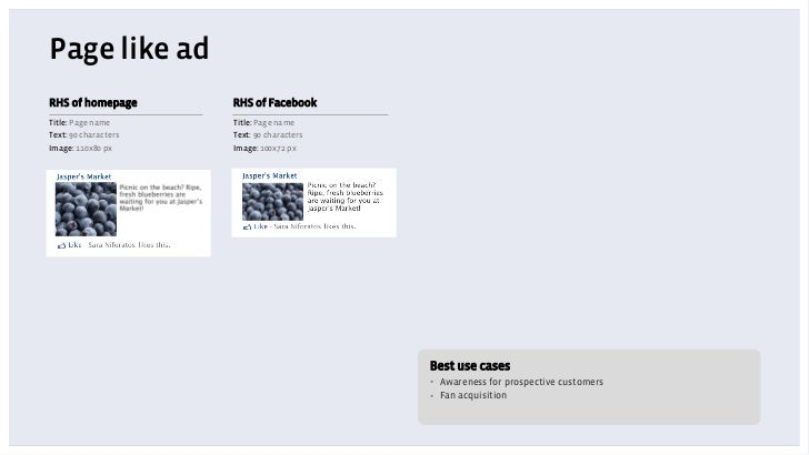 Page like adRHS of homepage       RHS of FacebookTitle: Page name      Title: Page nameText: 90 characters   Text: 90 char...