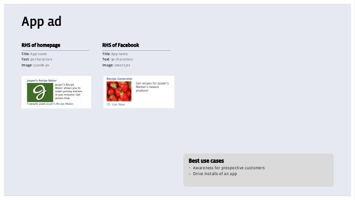 App adRHS of homepage       RHS of FacebookTitle: App name       Title: App nameText: 90 characters   Text: 90 charactersI...