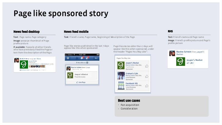 Page like sponsored storyNews feed desktop                         News feed mobile                                       ...