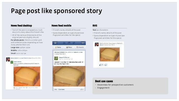 Page post like sponsored storyNews feed desktop                              News feed mobile                          RHS...